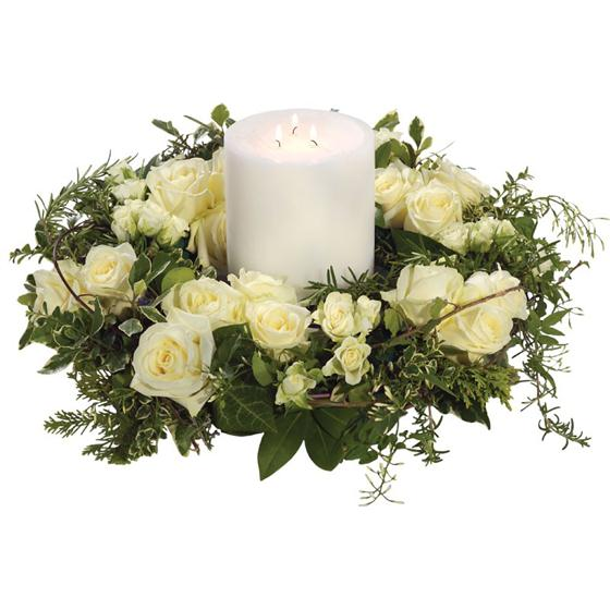 Rose Wreath and Candle - Funeral Flowers Cardiff